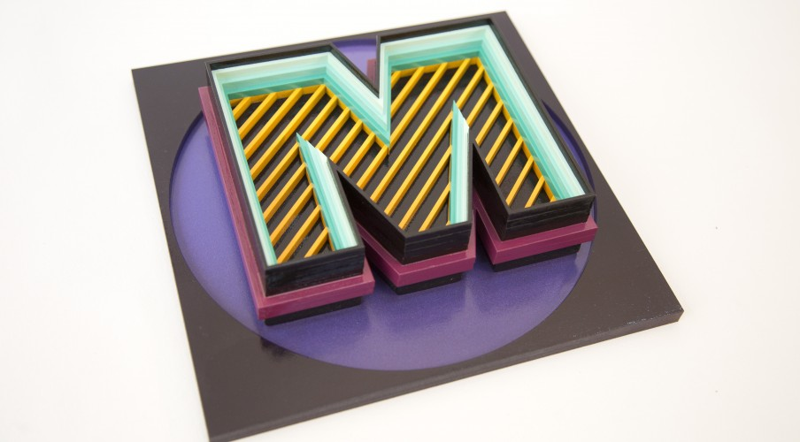 M - Mio Serie: Building Letters  Sculpture Wood Acrylic, spray paint, varnish 26cm x 26cm x 5cm